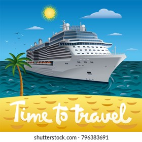 illustration of cruise ship to tropical sea beach resort