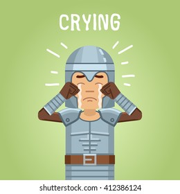 Illustration of a crying medieval knight. Sad, upset, stressed. Emoticon, emoji, facial expression. Medieval knight, crusader, soldier. Flat style vector illustration