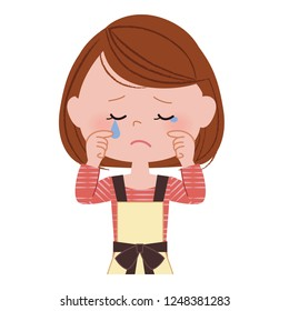 Illustration of a crying woman.