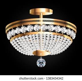 illustration of a crystal chandelier on a dark background