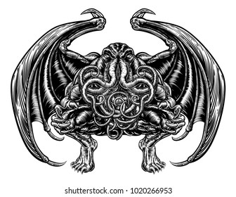 Illustration of Cthulhu mythos style Monster in a vintage woodcut style