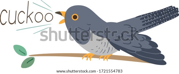 Illustration of a Cuckoo Bird on a Tree Branch Making Cuckoo Sound