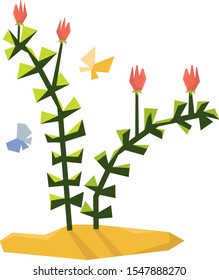 Illustration of Cult Jurassic Plant; Cartoon Flowers and Butterfly