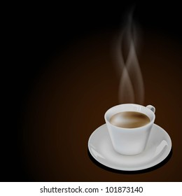 Illustration of cup coffee on dark background. Vector.