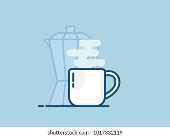 illustration of cup of hot coffee flat design vector