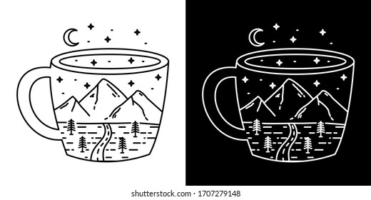 Illustration of a Cup Monoline Vintage Design