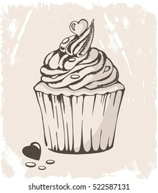 illustration of cupcake with heart on pastel  background. can be used for greeting cards or party invitations. Vintage background, ink sketch.