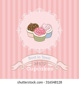 Illustration with cupcakes.