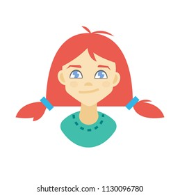 Illustration of a curious girl. Vector clip art.