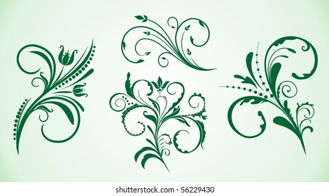 Illustration of curled flowers ornament collection. Vector