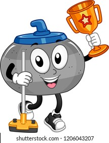Illustration of a Curling Stone Mascot Holding a Broom and a Trophy