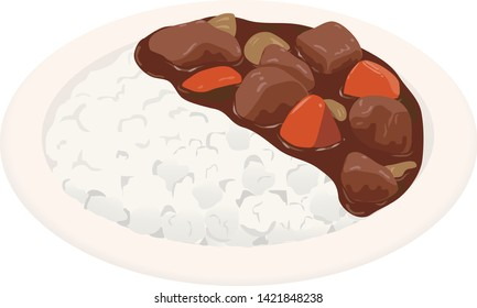 Illustration of the curry and rice