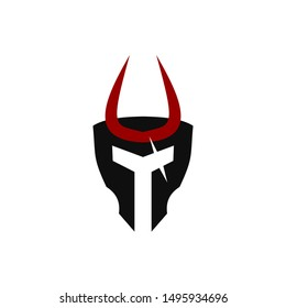 """Illustration of """"Cursed Helm"""" Spartan with flat style"""