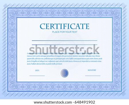 Illustration Custom Certificate Template Guilloche Stock Vector