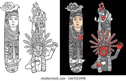 illustration custom font lettering doodle dancer and wayang indonesia