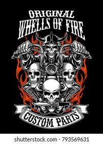 Illustration custom motorcycle emblems with ribbon , t-shirt design, labels, badges, logos, prints, templates. Layered,  Easy rider isolated on black background