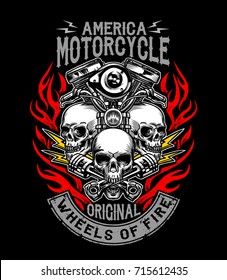 Illustration custom motorcycle emblems, t-shirt design, labels, badges, logos, prints, templates. Layered, isolated on black background Easy rider