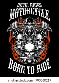 Illustration custom motorcycle emblems, t-shirt design, labels, badges, logos, prints, templates. Layered,  Easy rider isolated on black background