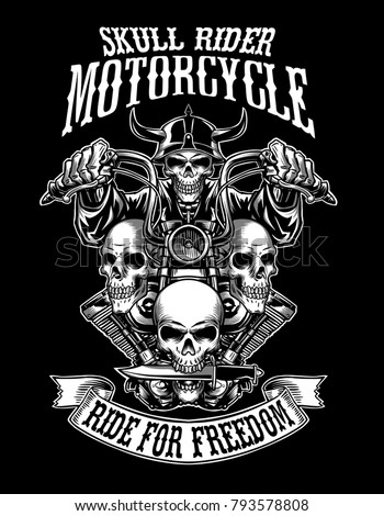 2f4ed844 Illustration custom motorcycle emblems withj ribbon, t-shirt design, labels,  badges, logos, prints, templates, Easy rider, Layered, isolated on black ...