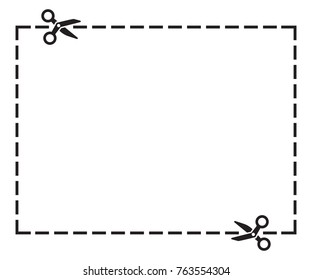 Illustration of a cut out coupon rectangle shape with scissors vector