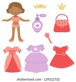 Illustration of Cute African - American paper doll