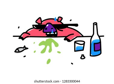 Illustration of a cute alko pig in sunglasses. Vector. Flat style. Pig get drunk vodka. Drunk pig vomits. Internet meme. Symbol of the fight against alcoholism. Drunk like a pig.