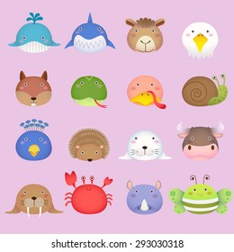 Illustration of a cute animal head collection set 3