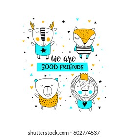 Illustration with  cute animals collections. We are good friends
