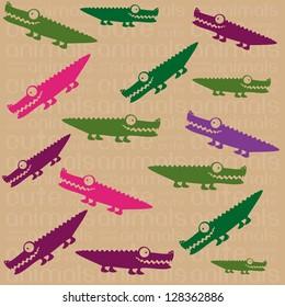 Illustration of Cute Animals. crocodile illustration. vector illustration