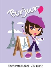 illustration of a cute artist in Paris
