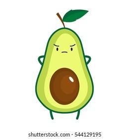 Illustration of cute avocado. Vector illustration