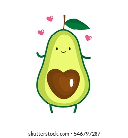 Illustration of cute avocado. Vector illustration