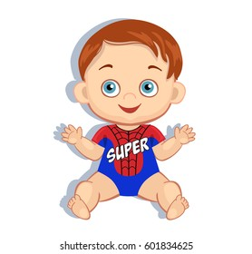 Illustration cute baby boy in the costume of a superhero. Vector illustration isolated on white background.