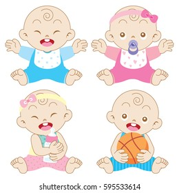 Illustration of cute baby boys and girls.