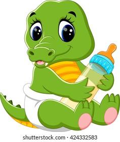 illustration of cute baby crocodile cartoon