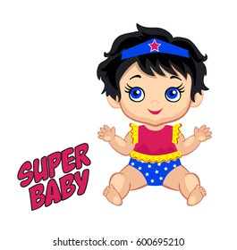 Illustration cute baby girl in the costume of a superhero. Vector illustration isolated on white background.