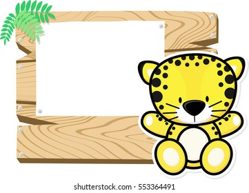 illustration of cute baby leopard on wooden board with blank sign isolated on white background