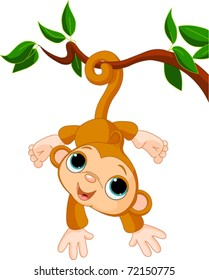 Illustration of Cute baby monkey on a tree