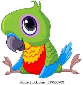 Illustration of cute baby parrot
