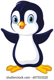 Illustration of cute baby penguin