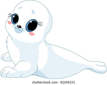 illustration of cute  baby  seal.