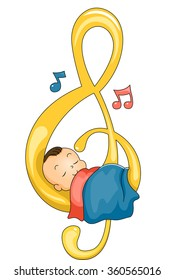 Illustration of a Cute Baby Sleeping Peacefully on a G-clef