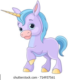 Illustration of cute baby unicorn