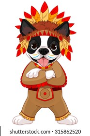 Illustration of cute Boston terrier wears Native American costume
