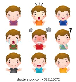 Illustration of cute boy faces showing different emotions