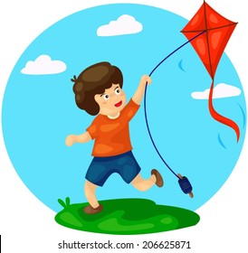illustration of cute boy playing kite