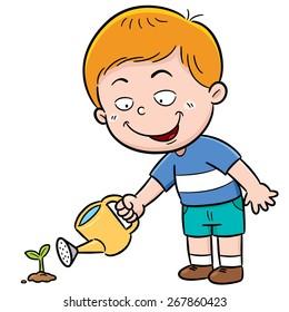 illustration of a cute Boy watering flower