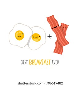 illustration of cute breakfast set. cartoon eggs and bacon breakfast with bunny faces. can be used like stickers or for cards design