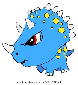 Illustration of Cute Cartoon Angry Blue Baby Triceratops Dinosaur. Vector EPS 8.
