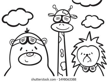 Illustration of cute cartoon animal. Pilots bear, giraffe, hedgehog.  Perfect for baby poster nursery, coloring book, t-shirt design, kids apparel, card. Doodle style. Vector version.